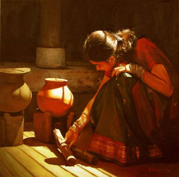 Paintings of Dravidian Women by Elayaraja