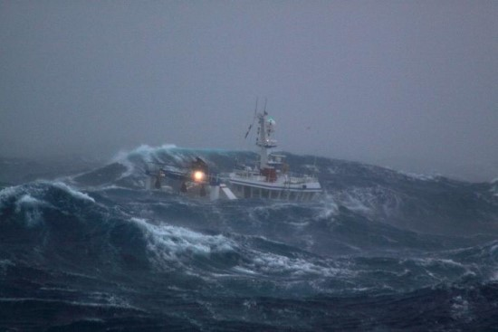 Ship caught in the rough sea of New Zealand