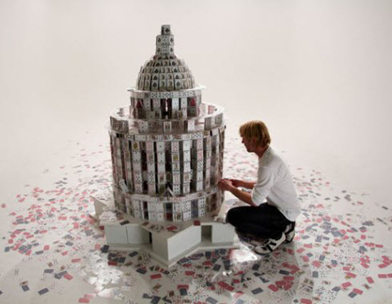 Card Stacking Sculptures by Bryan Berg