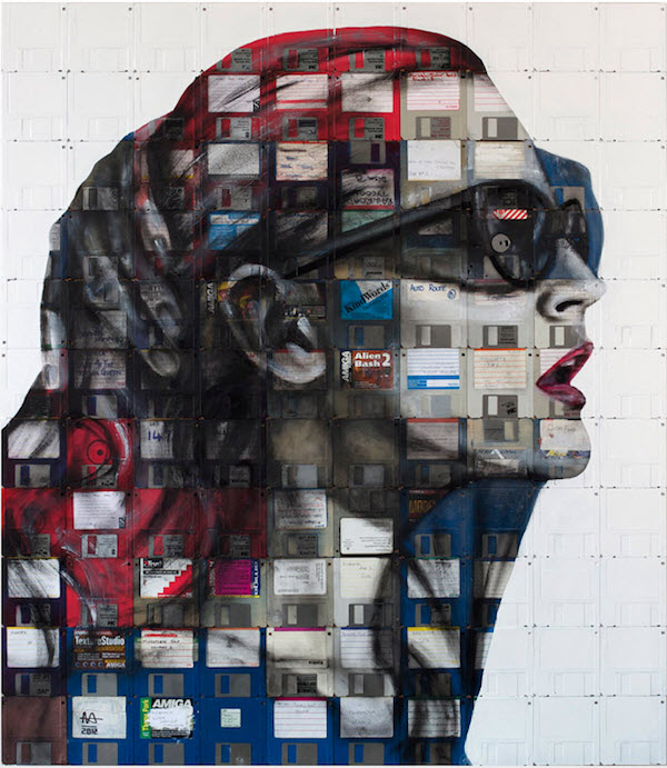 Portrait Paintings Across Rows of Floppy Disks by Nick Gentry from London