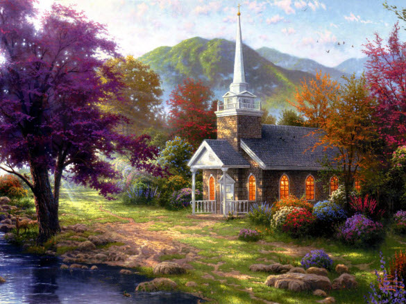Spectacular Oil Paintings of Pastoral House by Thomas Kinkade from America
