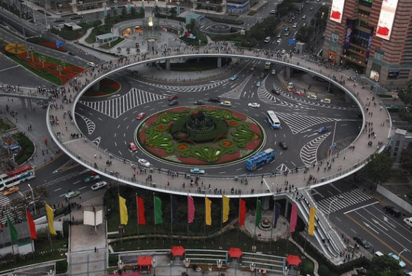 Circular Freeway For Pedestrians in Lujiazui China
