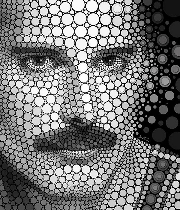 Digital Circlism Portraits by Ben Heine from Belgium
