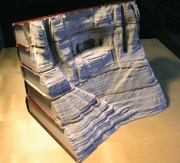 Carved Book Landscapes by Guy Laramee from Montreal