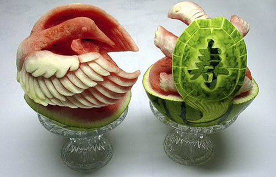 Awesome watermelon carving art by takashi from japan