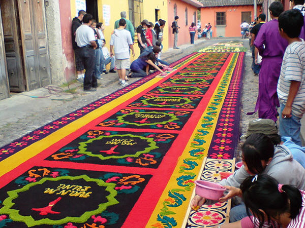 Street Carpets Alfombras at Semana Santa, Antigua